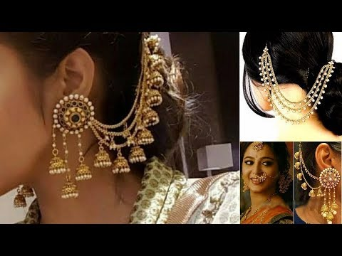Latest  Side Ear Chains And  Champaswaralu Designs / Long  Hair Chain Earrings For Indian Outfit