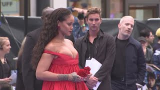 Rihanna arrived in a beautiful red dress at the Valerian European Premiere in London and her co-stars reflected on starring alongside her. Report by Lucy Jones.