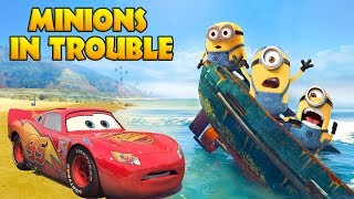 Video LIGHTNING MCQUEEN SAVES MINIONS IN TROUBLE w/ Spiderman and Hulk Funny Cartoon for Kids MP3, 3GP, MP4, WEBM, AVI, FLV Mei 2017