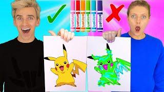 Video 3 Marker Challenge Sis VS Bro!! (Learn How to Draw: Pokemon, Dumbo, Frozen 2) Best DIY Wins $10,000 MP3, 3GP, MP4, WEBM, AVI, FLV Juni 2019