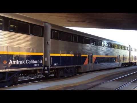 Amtrak California Commuter Train Arrives & Departs In Suisun City 10-24-13