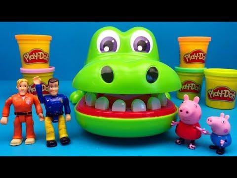 Play doh - Brandweerman Sam en Peppa Big gaan met Play-Doh en de Krokodil spelen