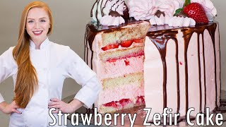 Strawberry Marshmallow Cake - Торт с Зефиром by Tatyana's Everyday Food