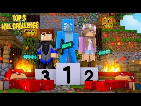 TOP 3 KILLS CHALLENGE!! Minecraft BED WARS W/ Sharky, Little Kelly And Scuba Steve