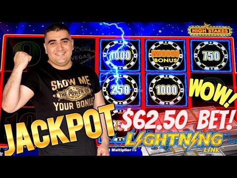 High Limit Lightning Link Slot Machine HANDPAY JACKPOT - $62.50 A Spin | High Limit Room Slots