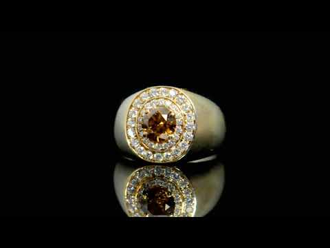 Men's GIA Certified 1.50ct Round Brilliant Cut Fancy Deep Yellow-Brown Diamond Ring