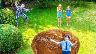 Video Amelia and Avelina save the police officer. Funny garden adventure. MP3, 3GP, MP4, WEBM, AVI, FLV Juli 2018