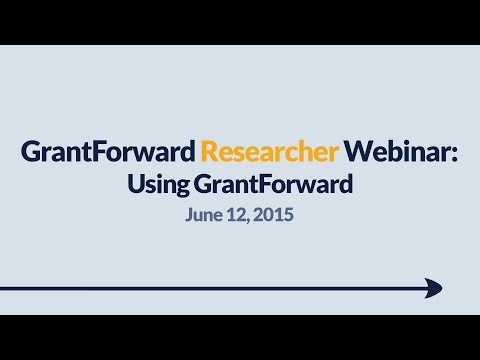 GrantForward Webinar held on June 12, 2015, for researchers and faculty at subscribing institutions. This webinar covers using GrantForward in general-- how to create accounts, search for grants, view grant and sponsor pages, use filters, manipulate results, create profiles, and receive grant recommendations. For more information about how to use GrantForward, visit www.GrantForward.com/support.