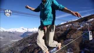 Daredevil highliners walk line between the French Alps 380 metres off the ground