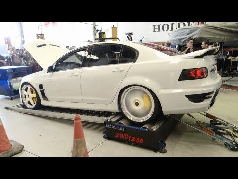 dyno - Brett's E3 Holden Special Vehicle [ XPLOSV ] on the dyno at Dyno-Mite. The car is powered by a cam only LS3 6.2L V8 engine and boosted by a Walkinshaw blower kit tuned by AllSparks. http://www.fa...