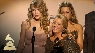 Taylor Swift accepting the GRAMMY for Best Country Song