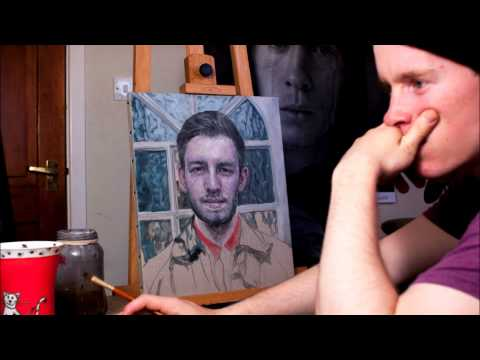Guy paints a portrait of his brother over the course of 2 months, and takes a picture every 5 minutes.