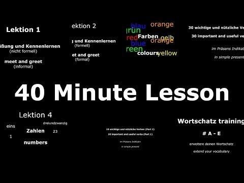 Learn German: Common Phrases, 30 Important Verbs & Core Vocabulary #A - #E (40 Minute Lesson) (видео)