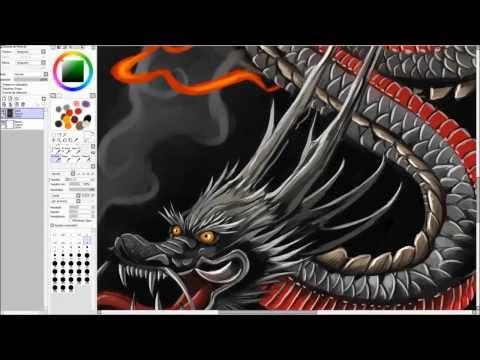 Japanese Dragon Speed Painting (видео)