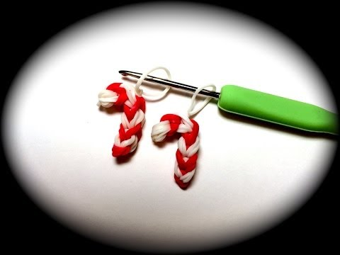Candy Cane Rubber Band Charm Without the Rainbow Loom