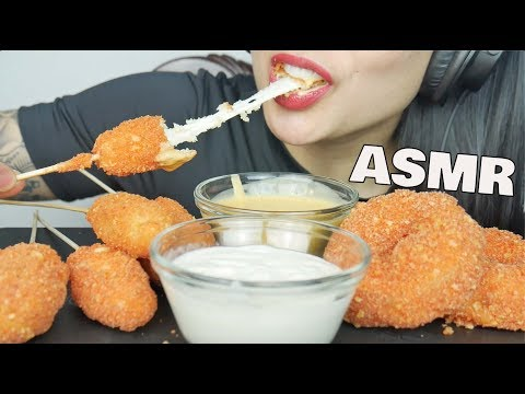 ASMR EXTREME CHEESE PULL *Cheesy Corndogs + Cheesy ONION RINGS (CRUNCHY EATING SOUNDS) | SAS-ASMR