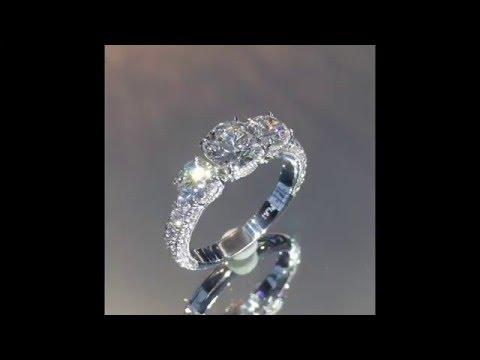 3.20 Ctw Round Diamond 3-Stone Platinum Engagement Ring