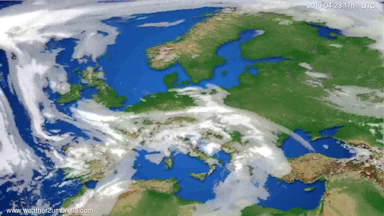 Cloud forecast Europe // modelrun: 00h UTC 2019-04-22