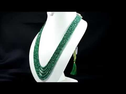 Natural Emerald 416ct Faceted Beaded Gemstone Necklace