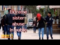 Extreme sister abuse in public ( social experiment )