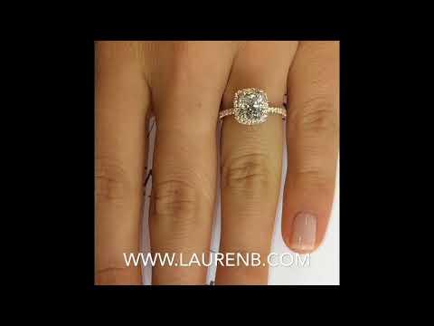1.50 ct Cushion Cut Diamond Halo Engagement Ring