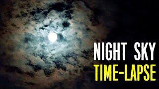 Красивое испанское ночное небо   Луна через облака таймлапс 10X