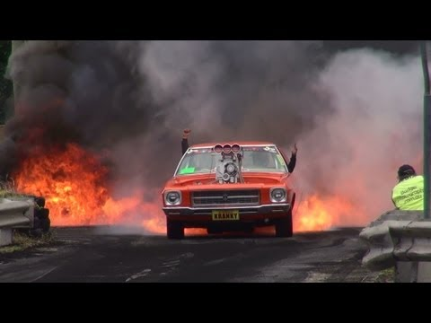 Holden - BLOWN V8 HOLDEN HQ ( KRANKY ) CATCHES FIRE IN THE BURNOUT FINALS AND LIGHTS UP KANDOS. MORE VIDEOS TO COME.
