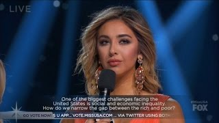 Miss California has been a target of social media mockery after her bizarre answer to a question about income inequality in America at Sunday's Miss USA ...