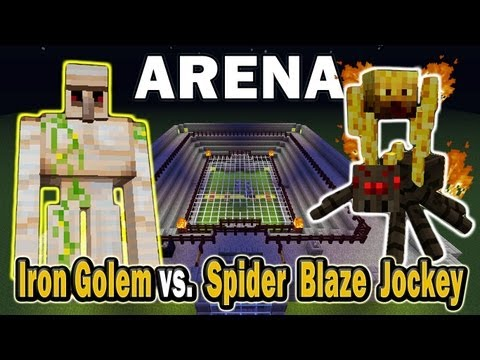 Minecraft Arena Battle Iron Golem vs. Spider Blaze Jockey