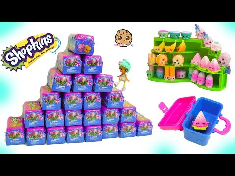 Mountain of Shopkins Lunch Box Food Fair 2 Surprise Blind Bags Toys (видео)