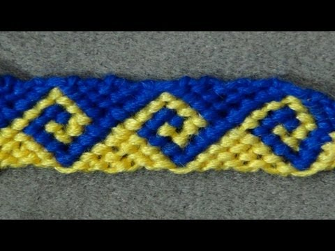 ► Friendship Bracelet Tutorial 34 - Intermediate - The Greek Wave