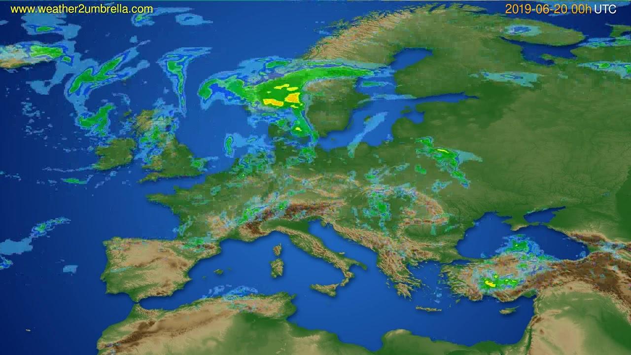 Radar forecast Europe // modelrun: 12h UTC 2019-06-19