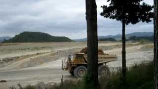 Waihi New Zealand  city images : Huge! Trucks Moving Clay @ Waihi Martha Open Cast Goldmine, New Zealand