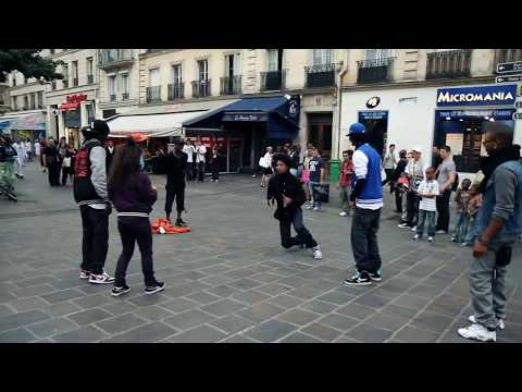 street - 2 on 2 freestyle dance battle in the streets of Paris, France Les Twins (New Style, French Hip Hop) VS. Bones & Pee Fly (New York Flexing) VS. Laura & Boubou...