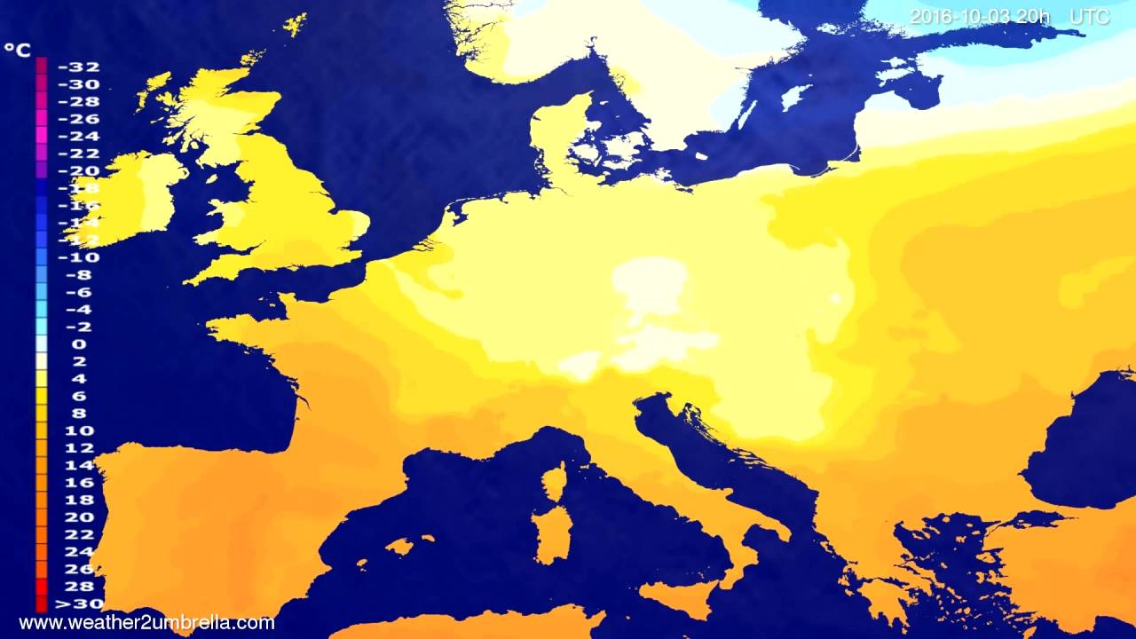 Temperature forecast Europe 2016-10-01