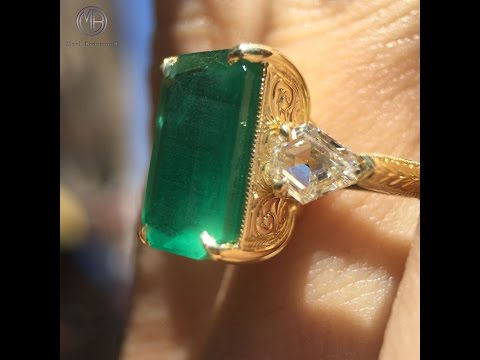 Mark Broumand - 6.35ct Emerald and Diamond Three-Stone Ring