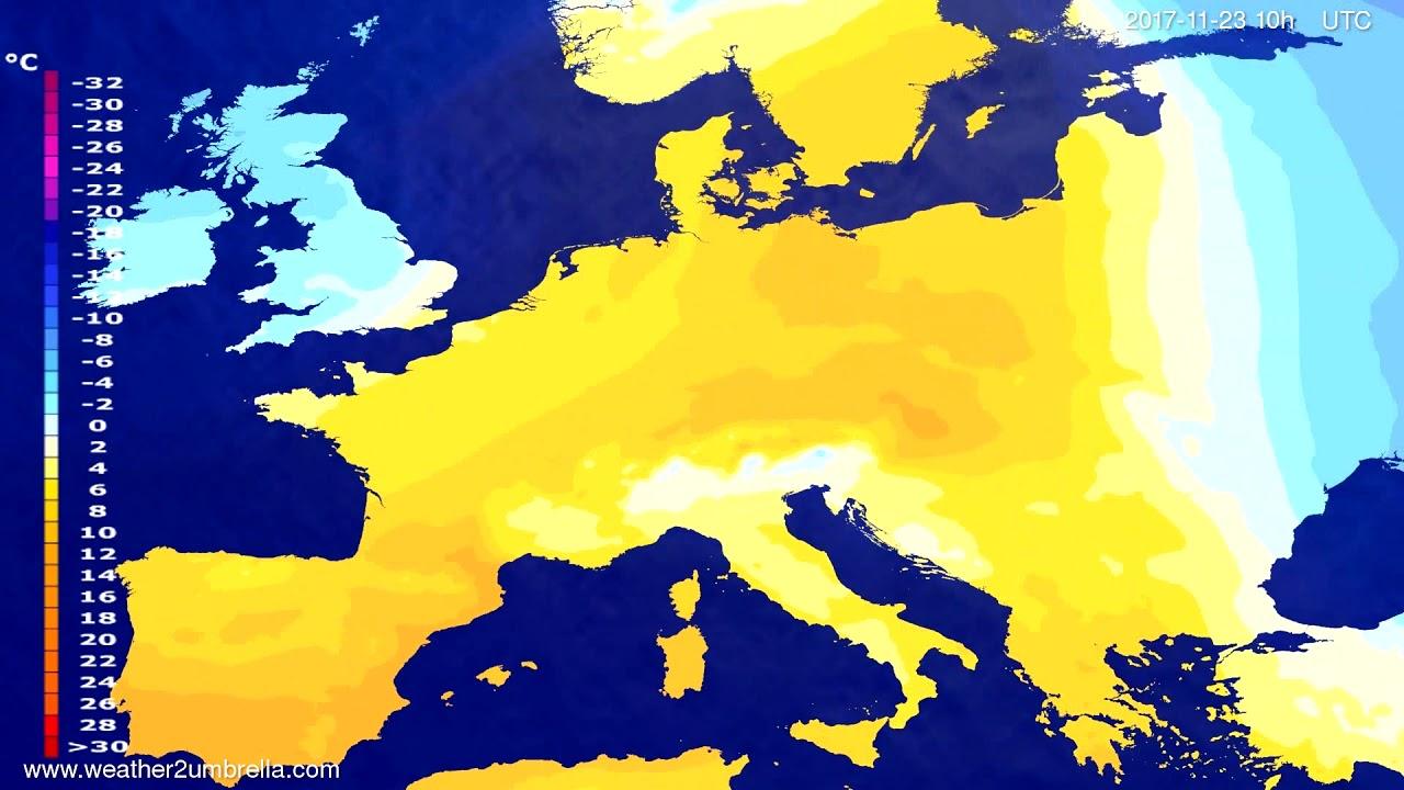 Temperature forecast Europe 2017-11-21