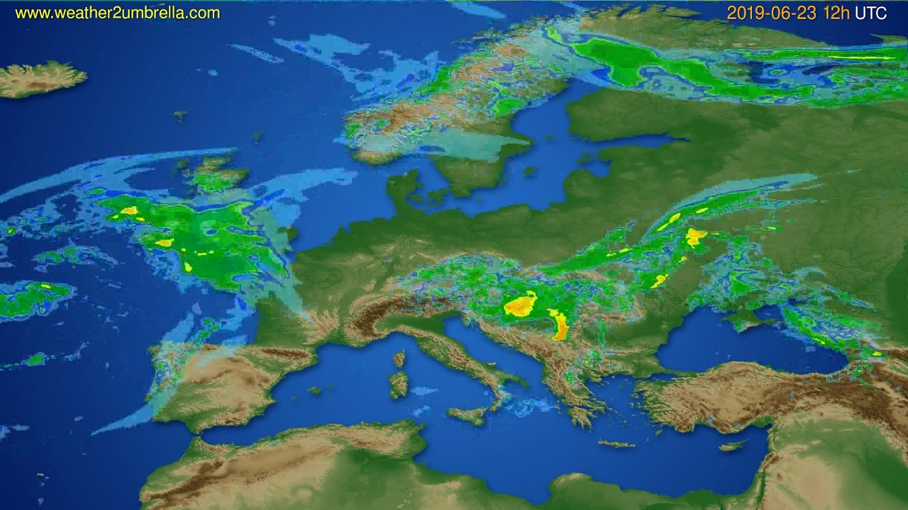 Radar forecast Europe // modelrun: 00h UTC 2019-06-23