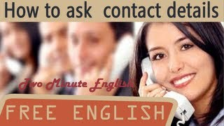 How to Ask for Contact Details, Beginner English Lesson