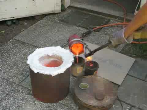 Roaring furnace to melt bronze / brass