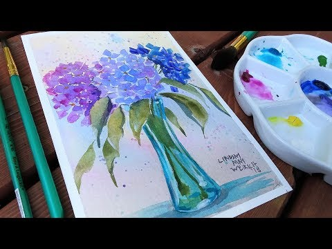 How To Paint Hydrangea Flowers Beginner Watercolor Tutorial