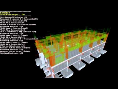 Cálculo Estructural - This example of 5D simulation was generated to represent, in time and cost, the construction of a residential building (26 storey) (structural designed and c...