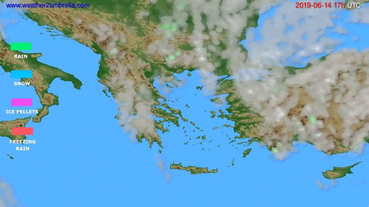 Precipitation forecast Greece // modelrun: 00h UTC 2019-06-13