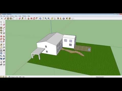 making doors - Google Sketchup tutorial 10 - Making a garden, paths and patio. Using the fill tool and free hand tool to create objects.