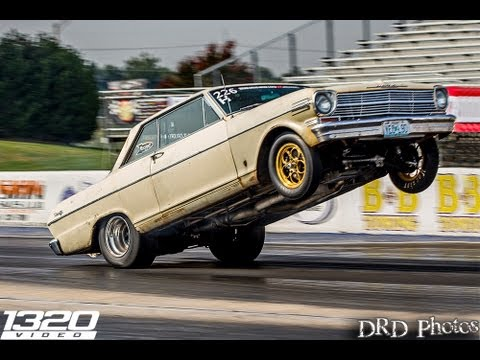 Chevy Nova does 400-ft. wheelstand at the strip
