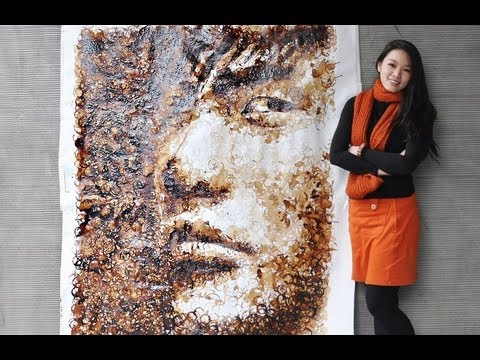 Red - Jay Chou Portrait with Coffee Cup Stains