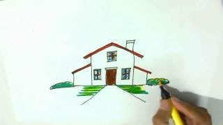 How to draw a cartoon house - in easy steps for children, kids, Step by step.