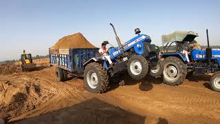 Sonalika Di-745 III tractor tochan with JCb in loaded trolley
