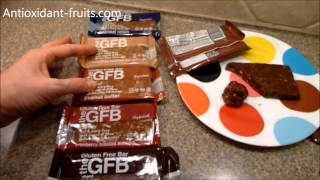 Buy The Gluten Free Bar GFB Chocolate Peanut Butter Protein Bar: http://shop.theglutenfreebar.com/collections/all-products/products/peanut-butter-chocolate-gfb Order a Sample Pack: http://shop.theglutenfreebar.com/collections/all-products/products/sample-packIngredients: virginia peanuts, organic brown rice syrup, complete protein blend (brown rice protein, pea protein), organic dates, organic agave nectar, organic dark chocolate (organic chocolate liquor, organic cane sugar, organic cocoa butter, organic cocoa powder), organic crisped brown rice, golden flaxseed, cocoa powder, vanilla. contains peanuts.Nutrition Facts: Serving Size: 1 barCalories: 240Total Fat: 10gSaturated Fat: 3gSodium: 75mgTotal Carbs: 28gDietary Fiber: 4gSugars: 17gProtein: 12gVisit Antioxidant-fruits.com to see all of our reviews: http://www.antioxidant-fruits.com/category/product-reviewsSubscribe to our newsletter: http://forms.aweber.com/form/44/711727044.htmSign Up for Daily Blog Posts: http://feedburner.google.com/fb/a/mailverify?uri=FruitBlog&loc=en_USJoin Antioxidant-fruits.com on:Facebook: https://www.facebook.com/antioxidantfruits?v=wall&ref=tsTwitter:  https://twitter.com/#!/antioxifruitsPinterest:  http://pinterest.com/antioxifruits/YouTube:  http://www.youtube.com/user/antioxidantfruitsGoogle+: https://plus.google.com/104293428454927091581 #health #fruit #fruits #antioxidants #antioxidantfruits