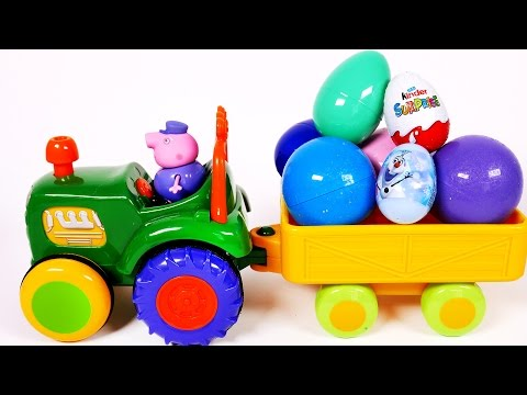 Toy Tractor Carries Many Surprise Eggs Filled with Surprise Toys for Children